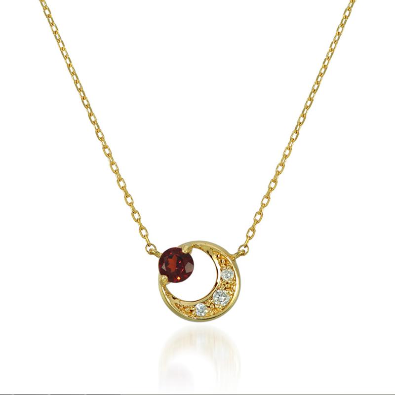 Wholesale 18K Gold Garnet Crescent Necklace ODM OEM Sterling Silver Jewelry