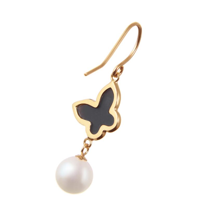 Wholesale 18K Gold Custom Jewelry Sterling Silver Peal & Black Opal Hook Earrings