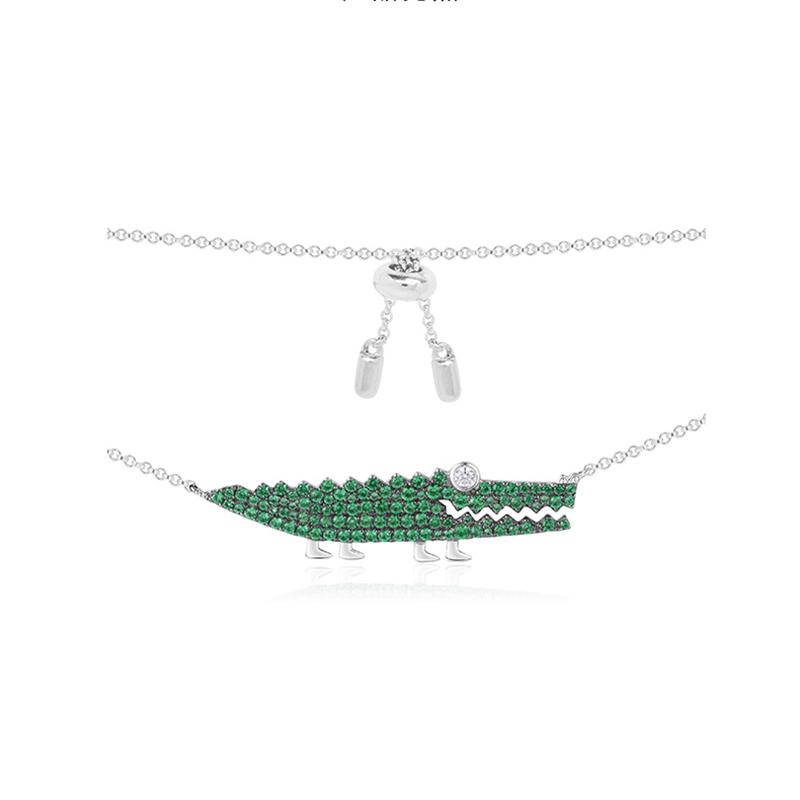 Wholesale 18K Gold OEM ODM Factory Crocodile Design Chrome Diopside Necklace Fine Jewelry