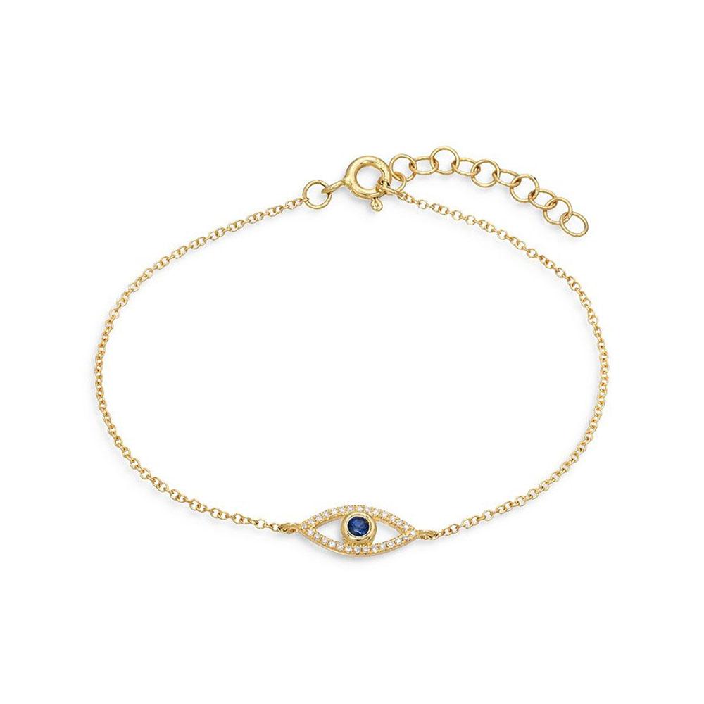 Custom jewelry,14K Yellow Gold Vermeil CZ & Blue Sapphire Evil Eye Bracelet wholesale