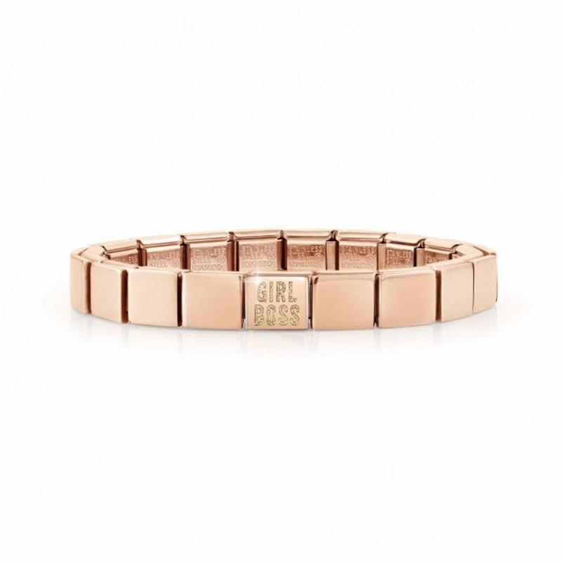 America jewelry wholesaler custom rose gold vermeil Bracelet with Glitter enamel text in English