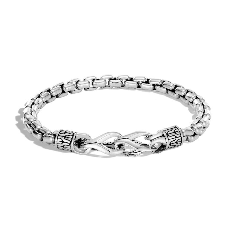 Custom 18k gold plated Men's Classic Box Chain Bracelet Sterling Silver OEM jewelry wholesaler