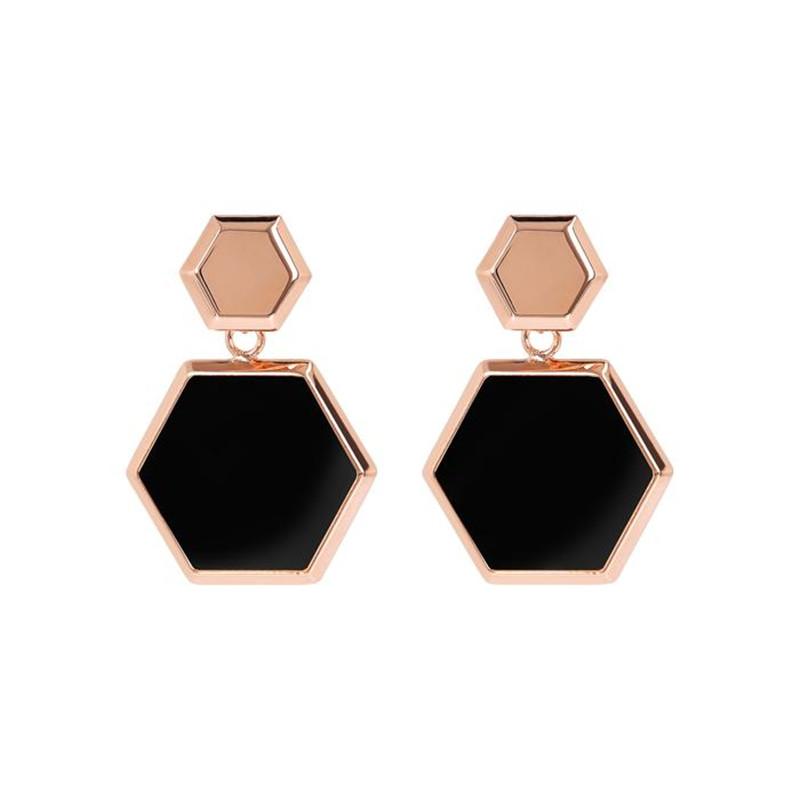 Custom 925 Silver Hexagonal Dangle Earrings in 18k Rose Gold Vermeil wholesale