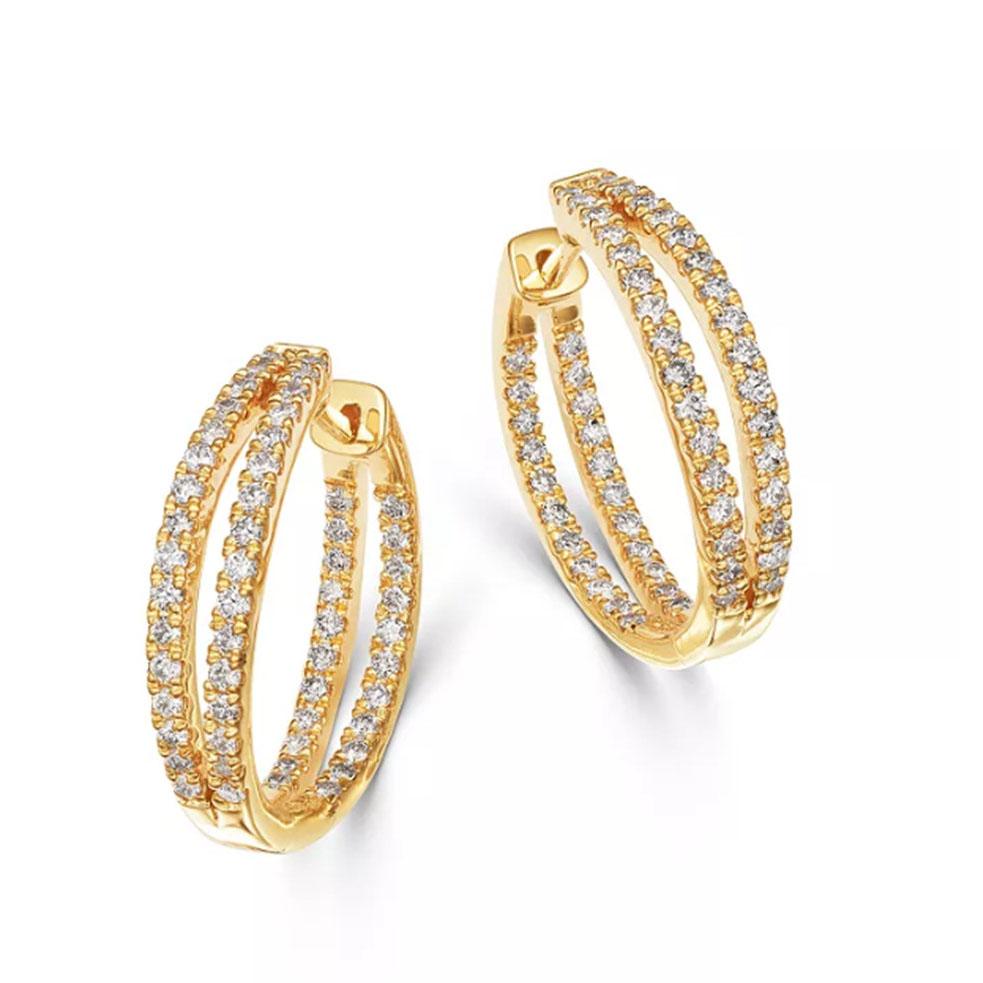 Custom Double Split Row Inside Out Hoop Earrings in 14K Yellow Gold jewelry manufacturer