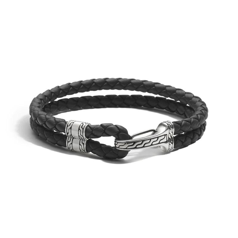 Custom Men's Bracelet Black Leather Sterling Silver made 925 Cz Design
