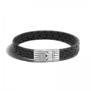 Wholesale Custom Men's Chain Bracelet Black Leather Sterling OEM/ODM Jewelry Silver 925 wholesale sterling silver jewelry