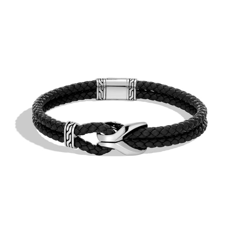 Custom Men's  Chain Link Bracelet Black Leather Sterling Silver OEM