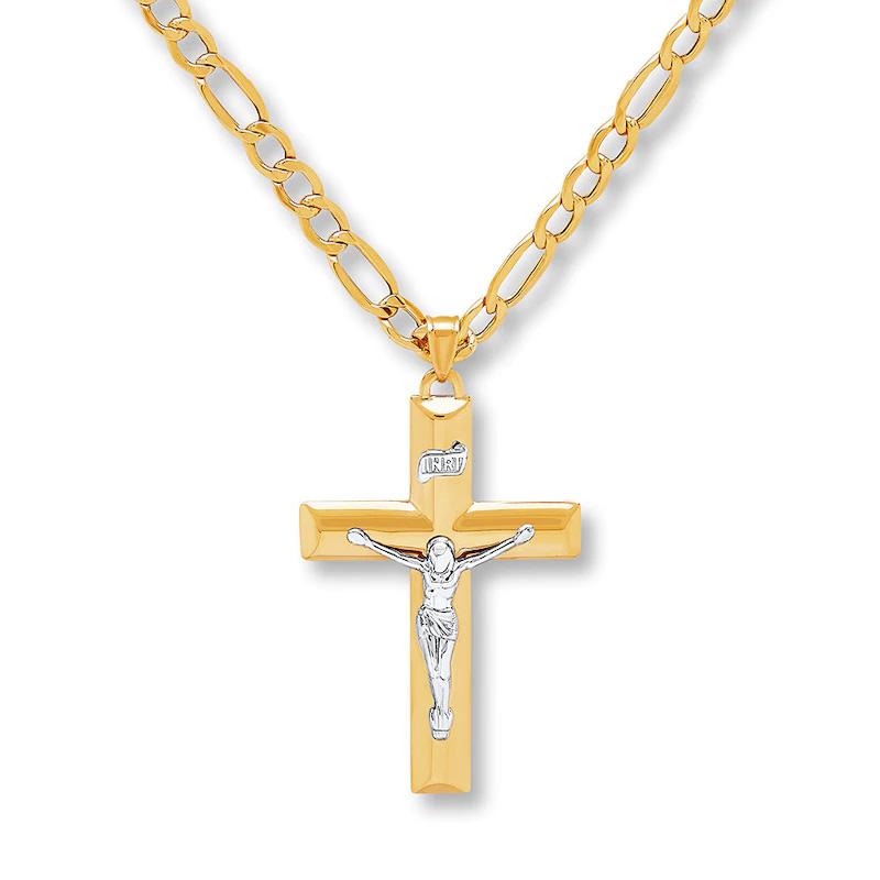 Wholesale Custom OEM/ODM Jewelry Men's Crucifix Necklace 10K Yellow Gold 20 Length Wholesale Jewellery