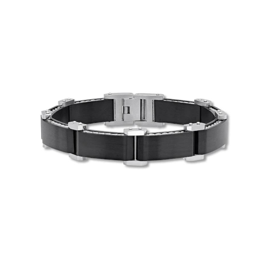 Wholesale Custom Men's Link Bracelet Black Ion-plated OEM/ODM Jewelry Wholesale Sterling Silver Jewelry manufacturer
