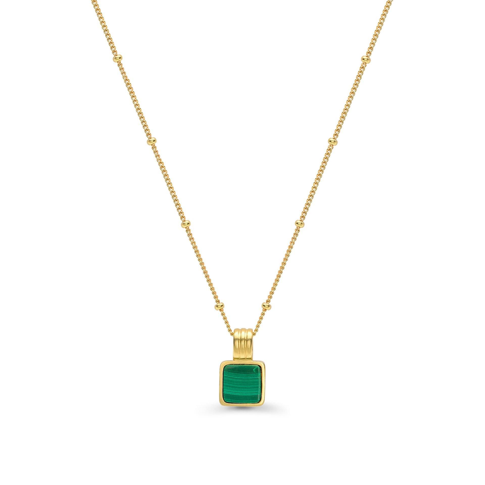 Wholesale OEM/ODM Jewelry Custom design Malachite gemstone set in 18ct gold vermeil pendant on chain 20 years in OEM jewelry