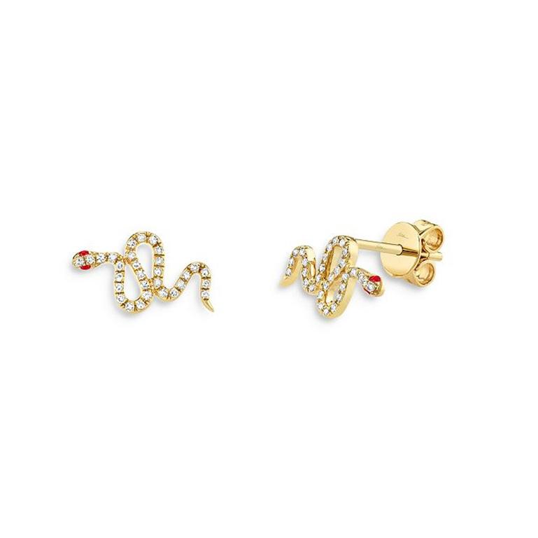 Custom jewelry for 14K Yellow Gold Vermeil CZ Snake Stud Earrings