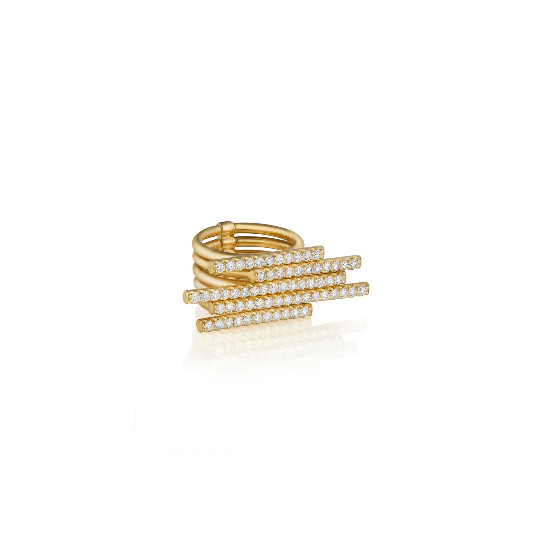Wholesale Custom made 18k Gold 5-Diamond Sticks Ring women's fine jewelry designer OEM/ODM Jewelry