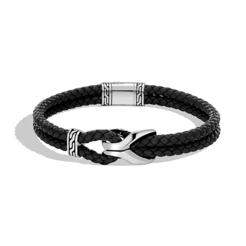 Custom made Men's Asli Classic Chain Link Bracelet Black Leather 925 Sterling Silver jewelry OEM