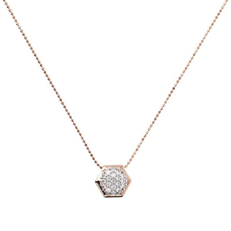 Custom made jewelry for Hexagonal Pavé Pendant Necklace wholesaler