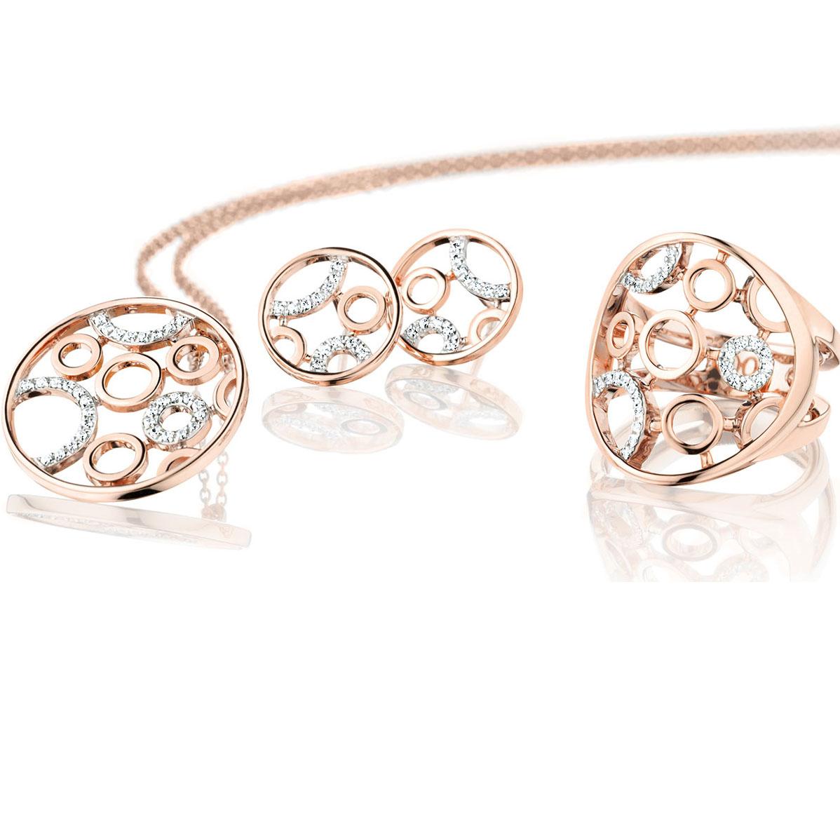 Custom made rose gold plating ring pendant earrings