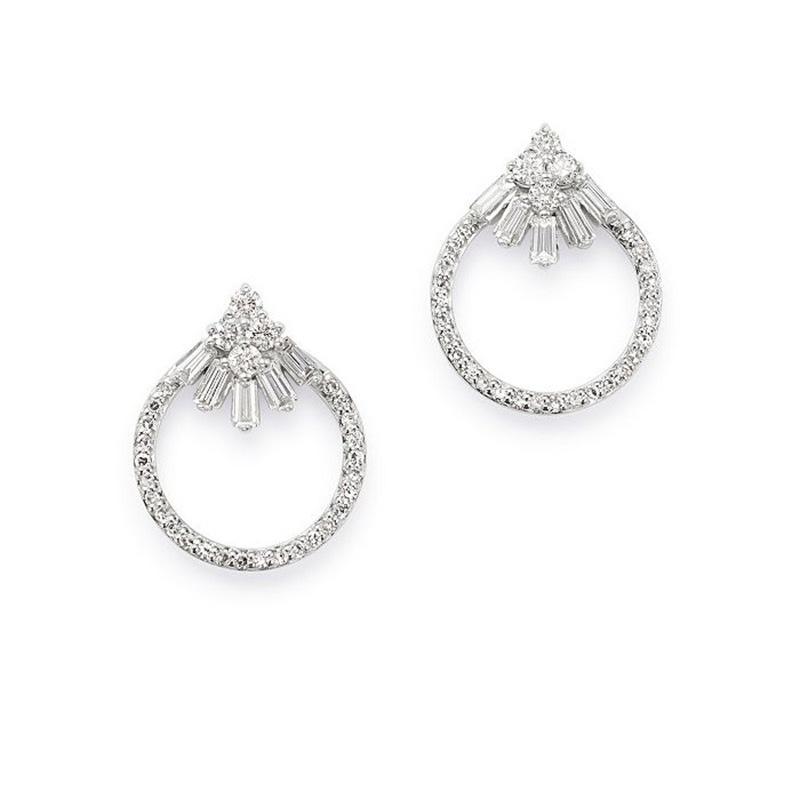 Custom wholesale CZ Open Circle Stud Earrings in 14K White Gold Vermeil wholesaler