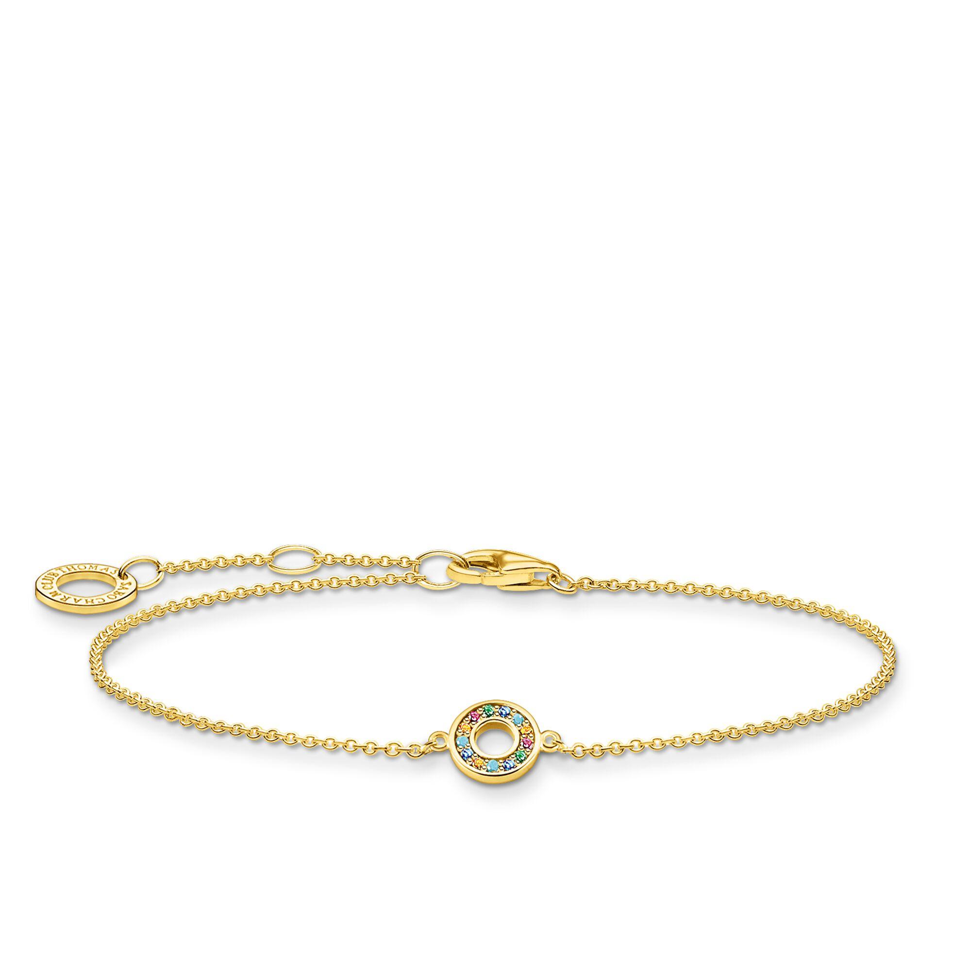 Wholesale Customized Fine yellow-gold plating OEM/ODM Jewelry chain bracelet with round glass-ceramic stone