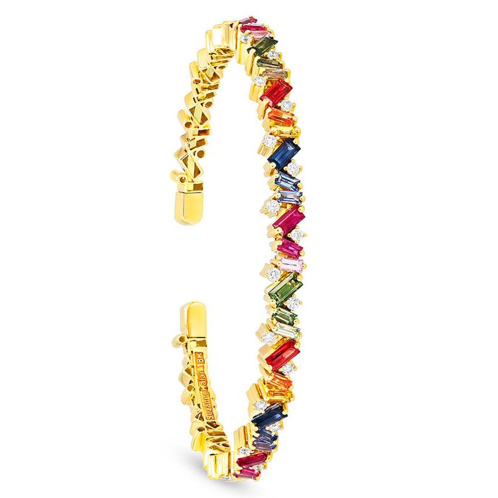Design made18K Yellow Gold Vermeil  CZ Bangle Bracelet manufacturer wholesaler
