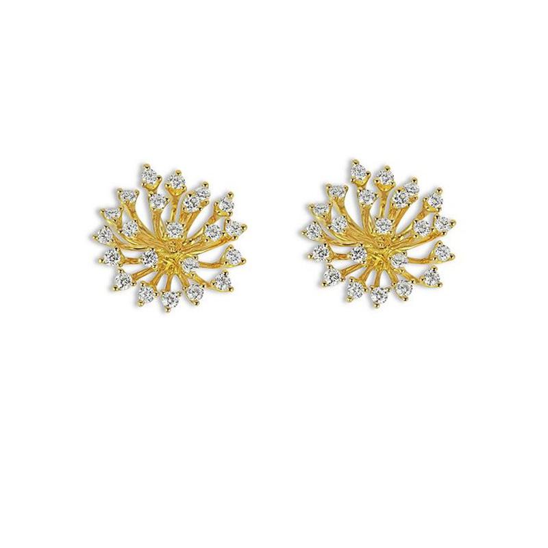 Jewerly factory  manufacture custom 18K Yellow Gold Luminus CZ Starburst Statement Earrings