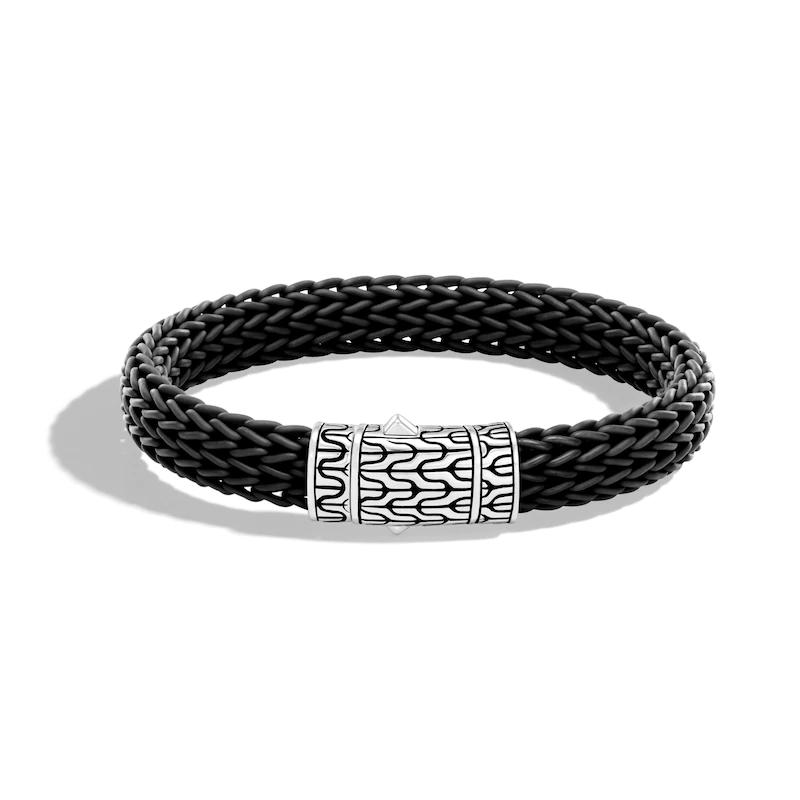 Men's Classic Chain Black Rubber Sterling Silver custom fashion jewelry wholesale