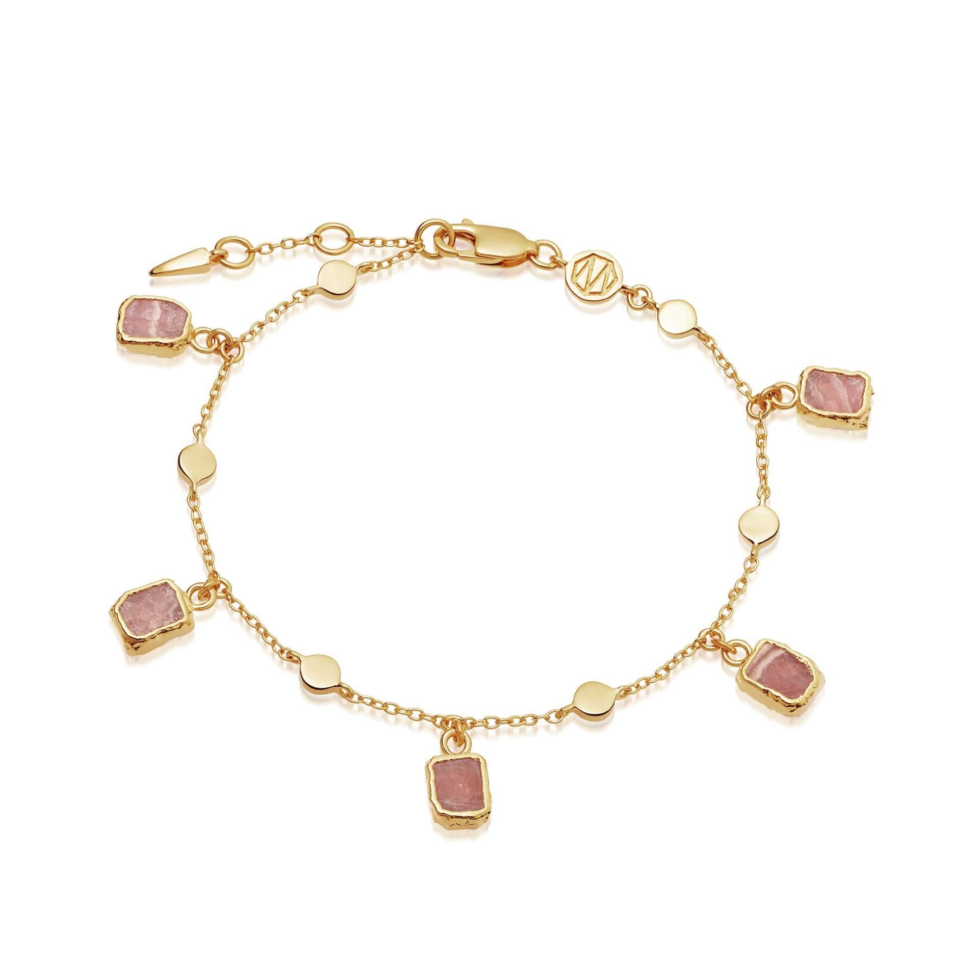 Wholesale OEM 18k gold OEM/ODM Jewelry vermeil chain bracelet with Pink Rhodochrosite crystals personalised custom design service