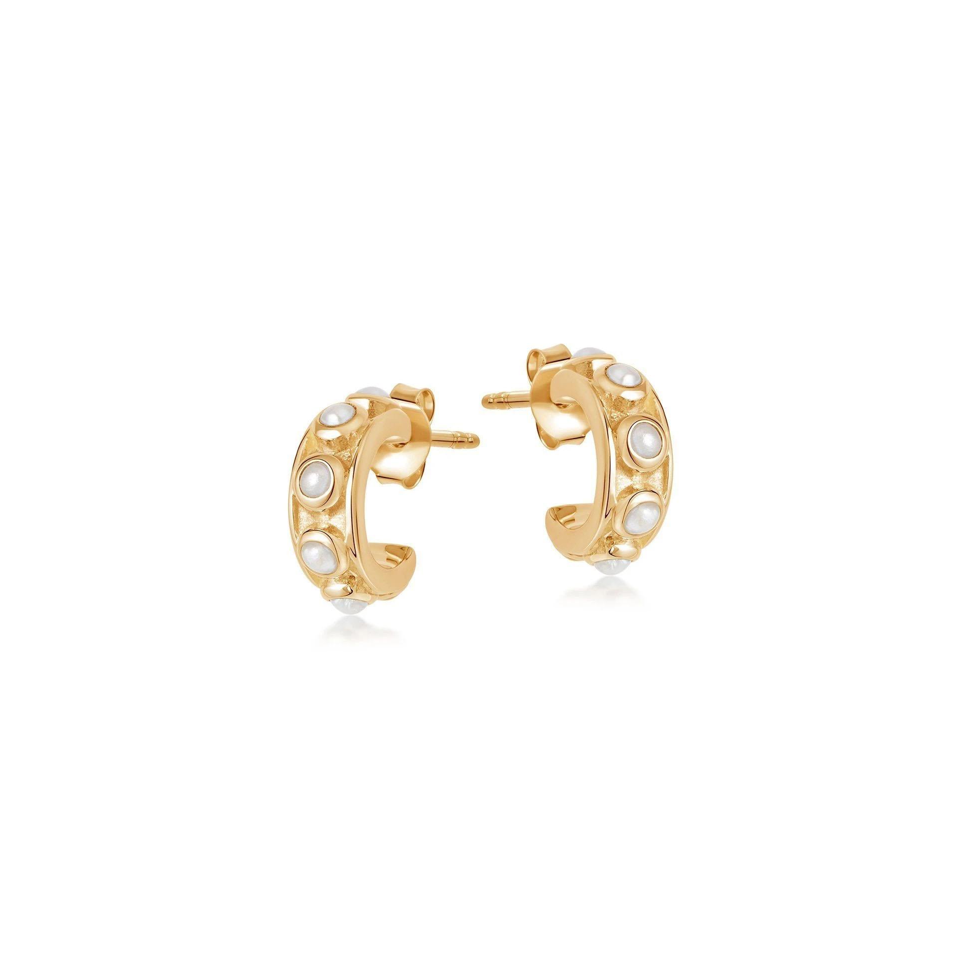 Wholesale OEM/ODM Jewelry OEM natural white pearls earrings set in 18ct gold vermeil on sterling silver