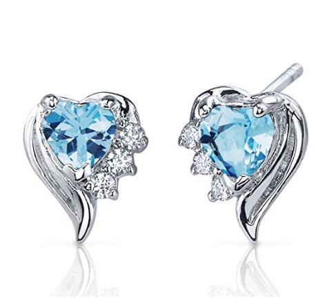 Custom wholesale Swiss Blue Topaz Earrings Sterling Silver Heart Shape CZ Accent