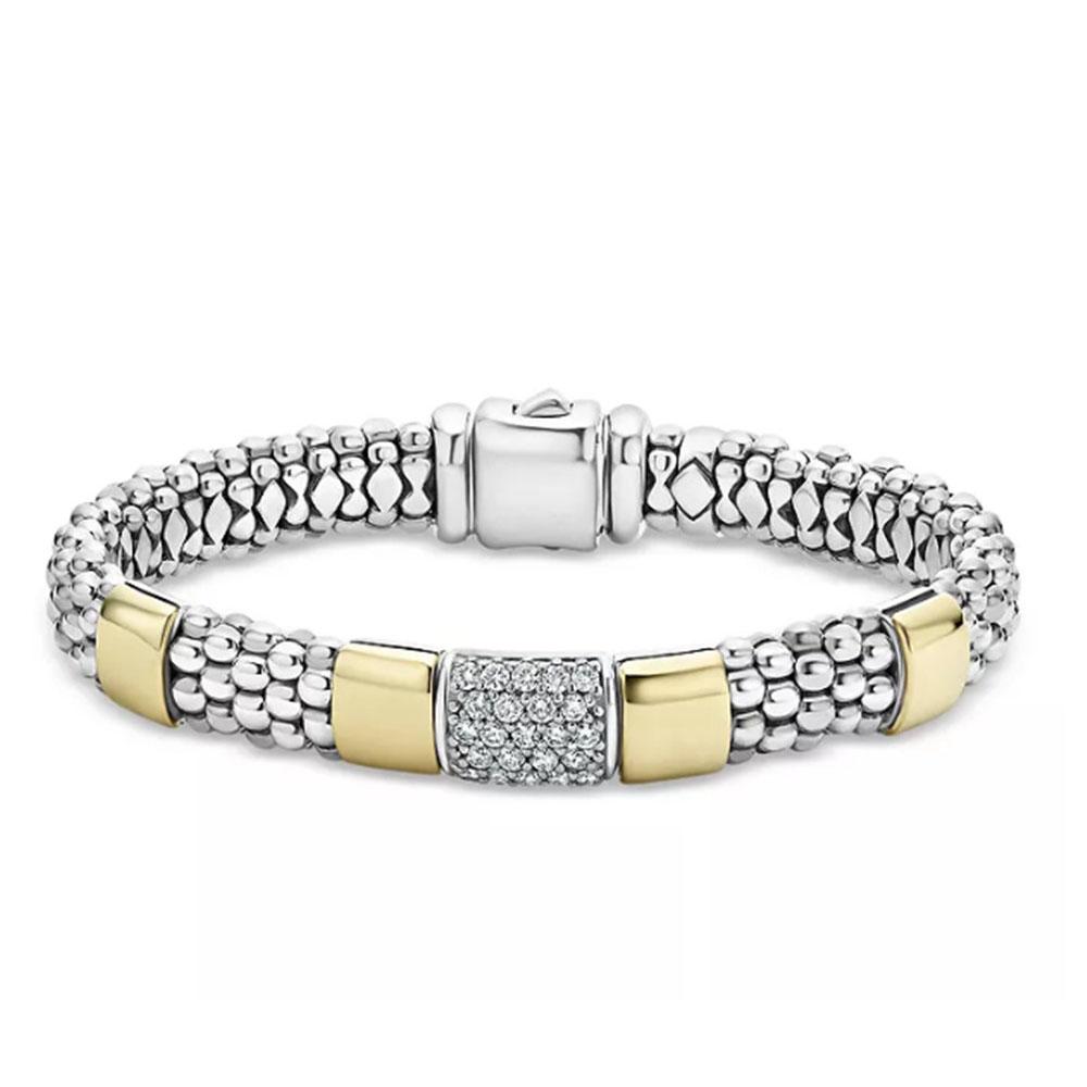 Sterling Silver & 18K Gold plated jewelry manufacturer High Bar CZ  Bracelet OEM ODM