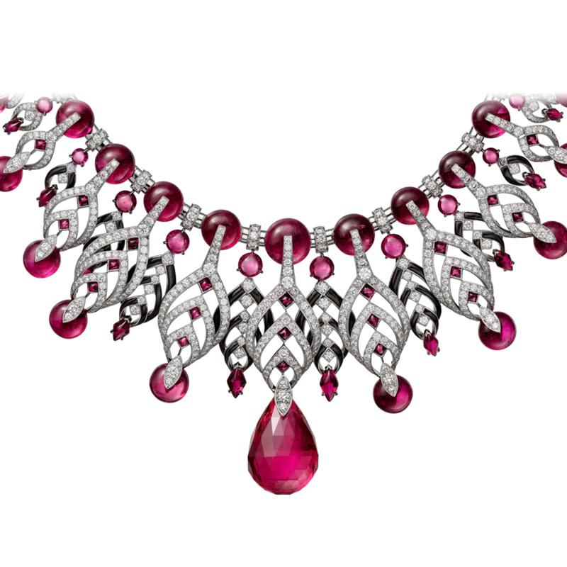 Wholesale White Gold Rubellites Black Rhodium Diamonds Necklace Jewelry