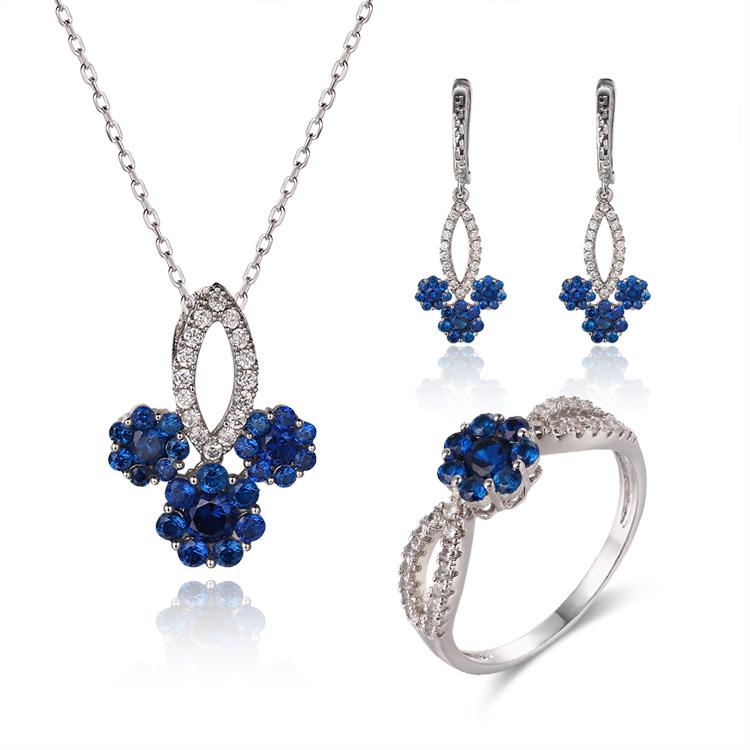 Custom wholesale Flower Earrings Jewelers Wholesale   Sapphire Jewelry Designer   925 Silver Jewelry Custom Made