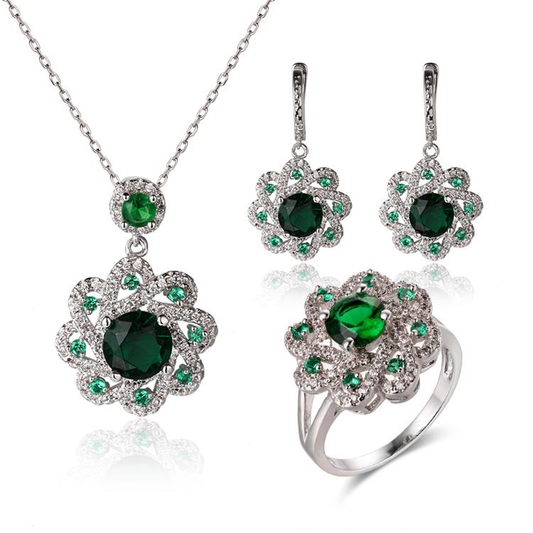 Custom wholesale Emerald Cut CZ Dangle Earrings   Flower Fashion Jewelry Design   Women's Jewelry  Custom