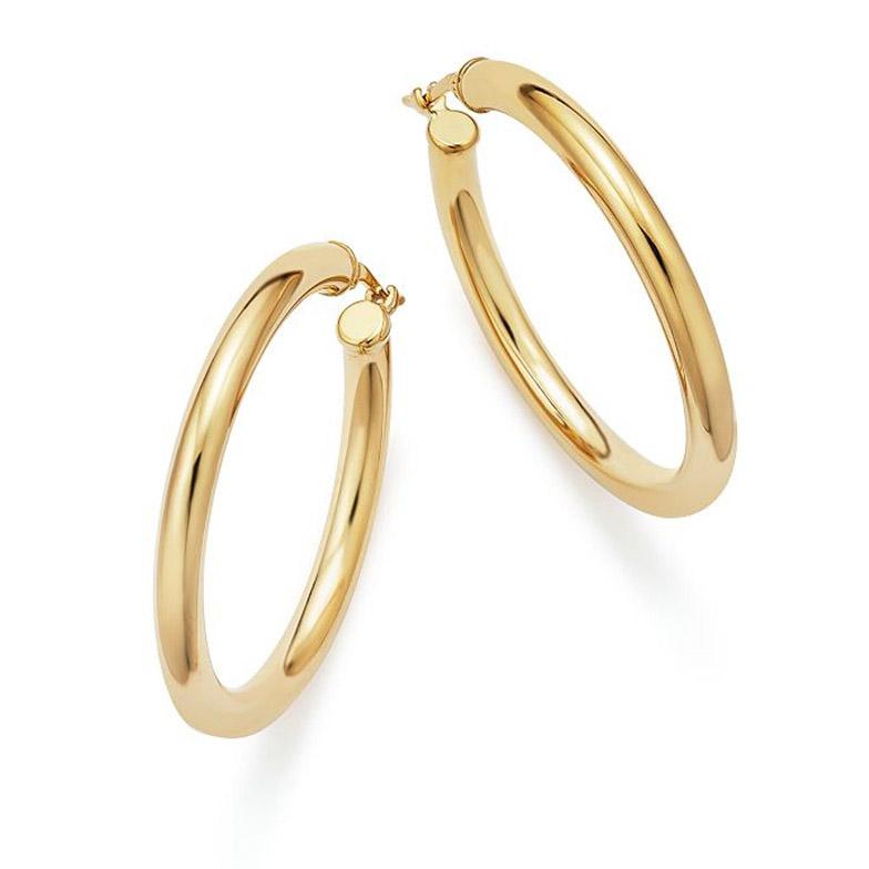 custom jewelry wholesale 14K Yellow Gold Tube Hoop Earrings Vermeil