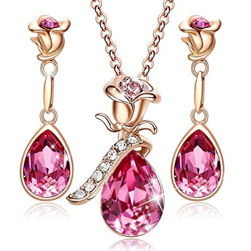Wholesale 14K Rose Gold Sterling Silver Pink Topaz Jewelry Set