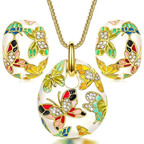 Wholesale 925 Silver Diamond Enamel Jewelry Set 14K Gold